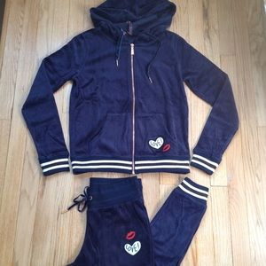 NWT Betsey Johnson Navy Velour Tracksuit Small